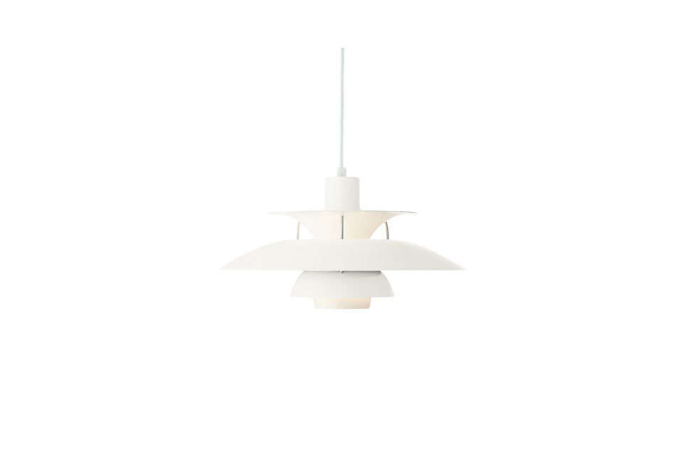 ThePH 50 Pendant Lamp in whitedesigned by Poul Henningsen is $996 at
