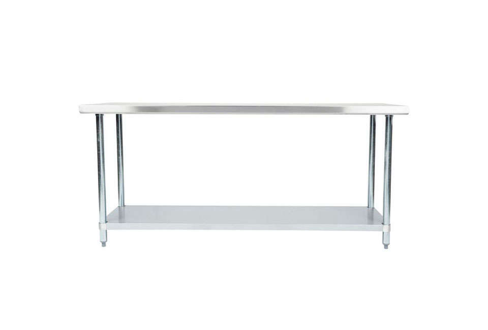 The Regency Stainless Steel Commercial Work Table with galvanized legs and undershelf is $7.99 at Webstaurant Store. Another option is theCoterie Kitchen Cart with two stainless steel shelves for $699 at CB