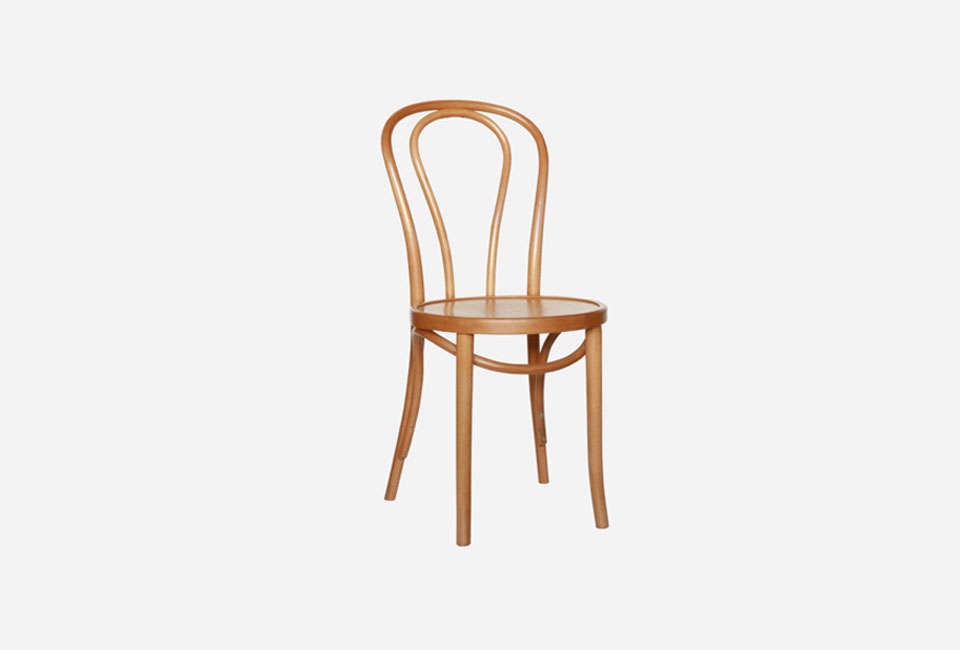 The Thonet No. Chair in natural oak finish (shown) is available by contacting Thonet.