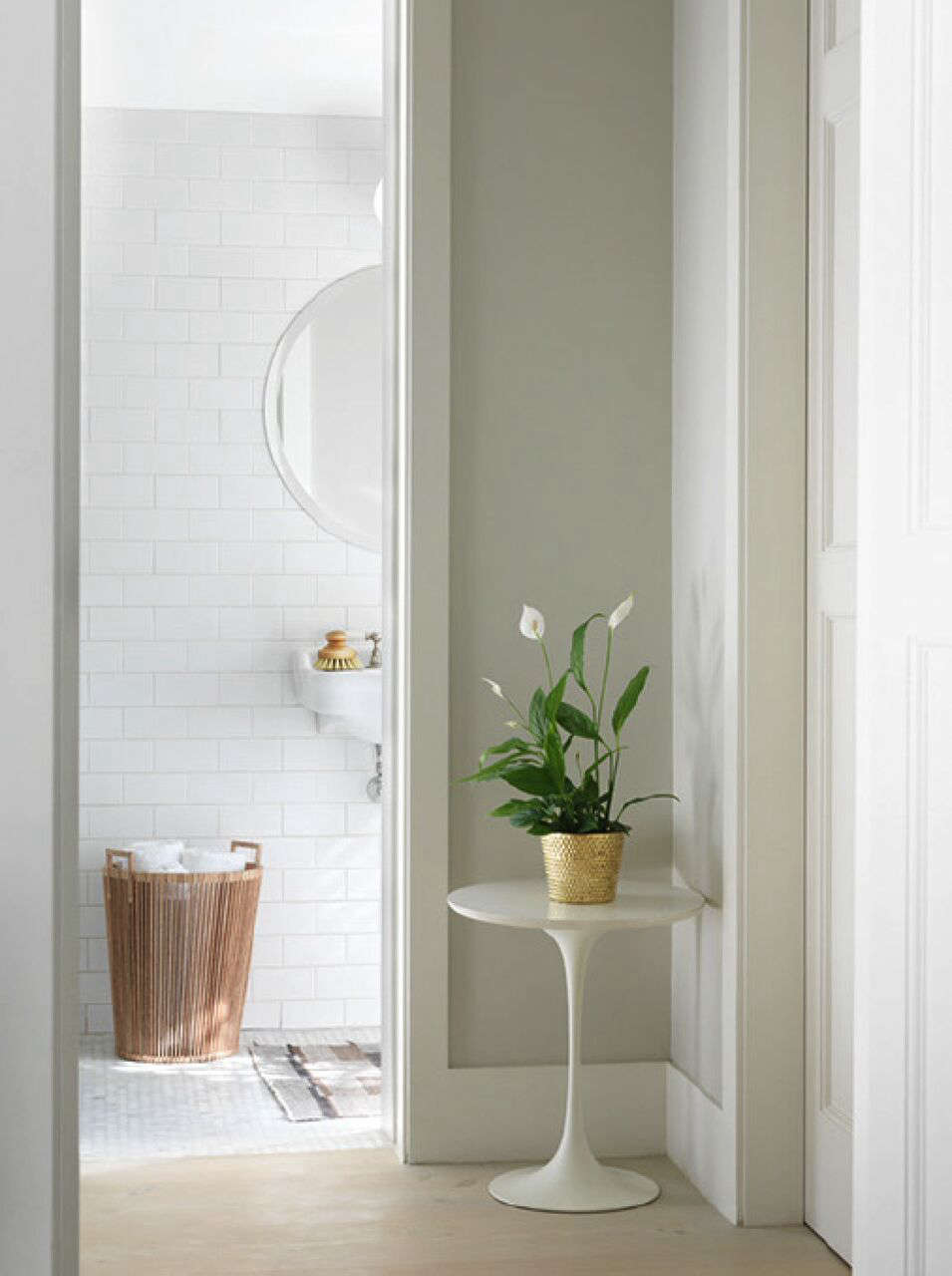 A Notting Hill Townhouse Tailored for Living by Charles Mellersh Subway tiled bath in a remodeled historic Notting Hill townhouse, interior design by Charles Mellersh   Remodelista