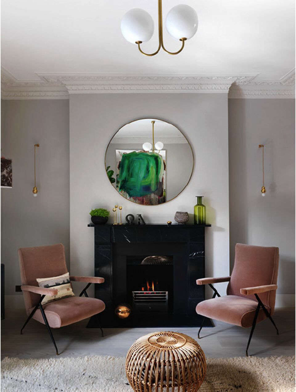 A Notting Hill Townhouse Tailored for Living by Charles Mellersh Dusty pink velvet upholstered vintage armchairs in a Notting Hill town house by interior designer Charles Mellersh   Remodelista
