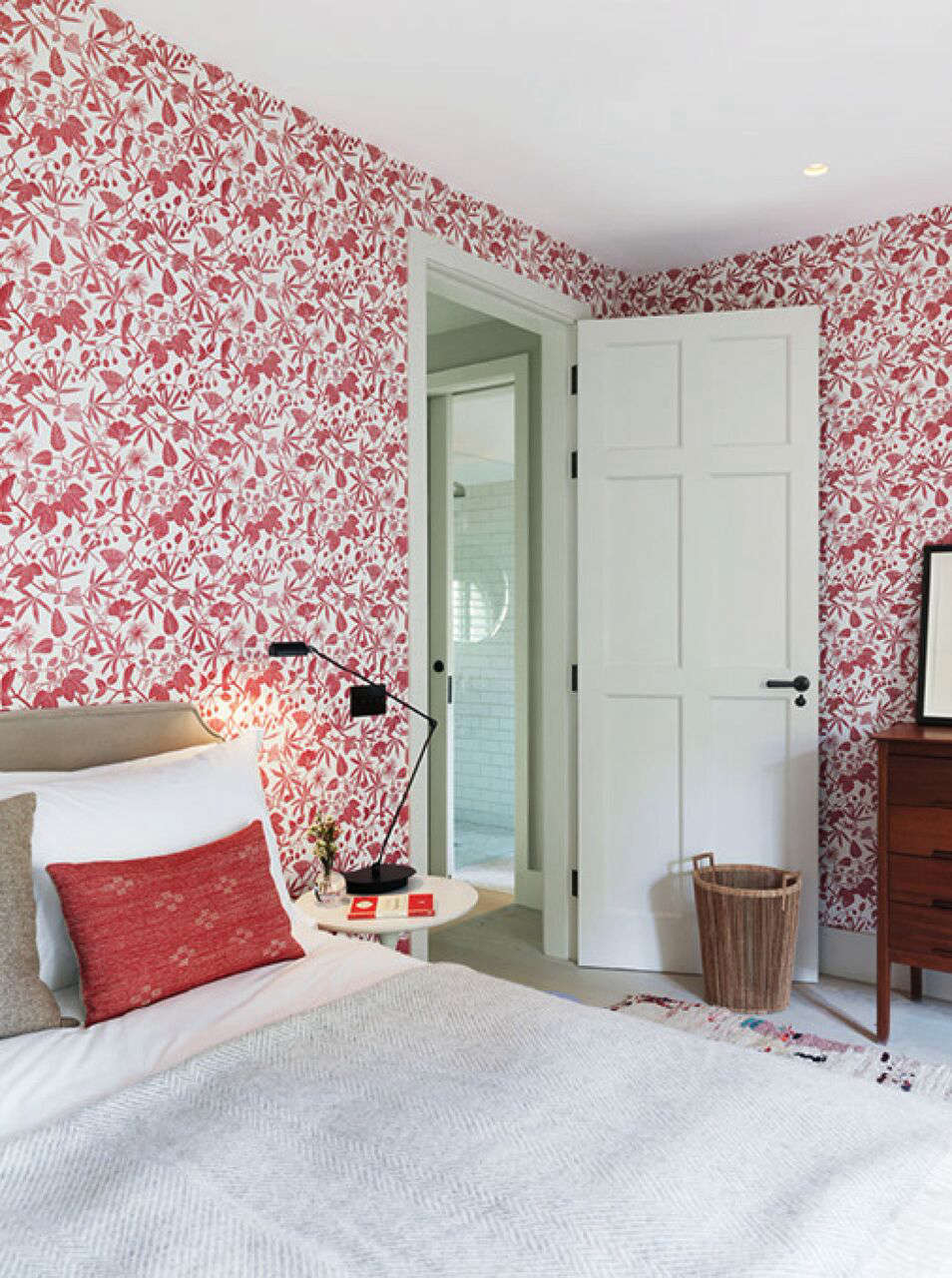 A Notting Hill Townhouse Tailored for Living by Charles Mellersh Marthe Armitage Hop Garden wallpaper in the master bedroom of a remodeled Notting Hill townhouse with interior design by Charles Mellersh   Remodelista