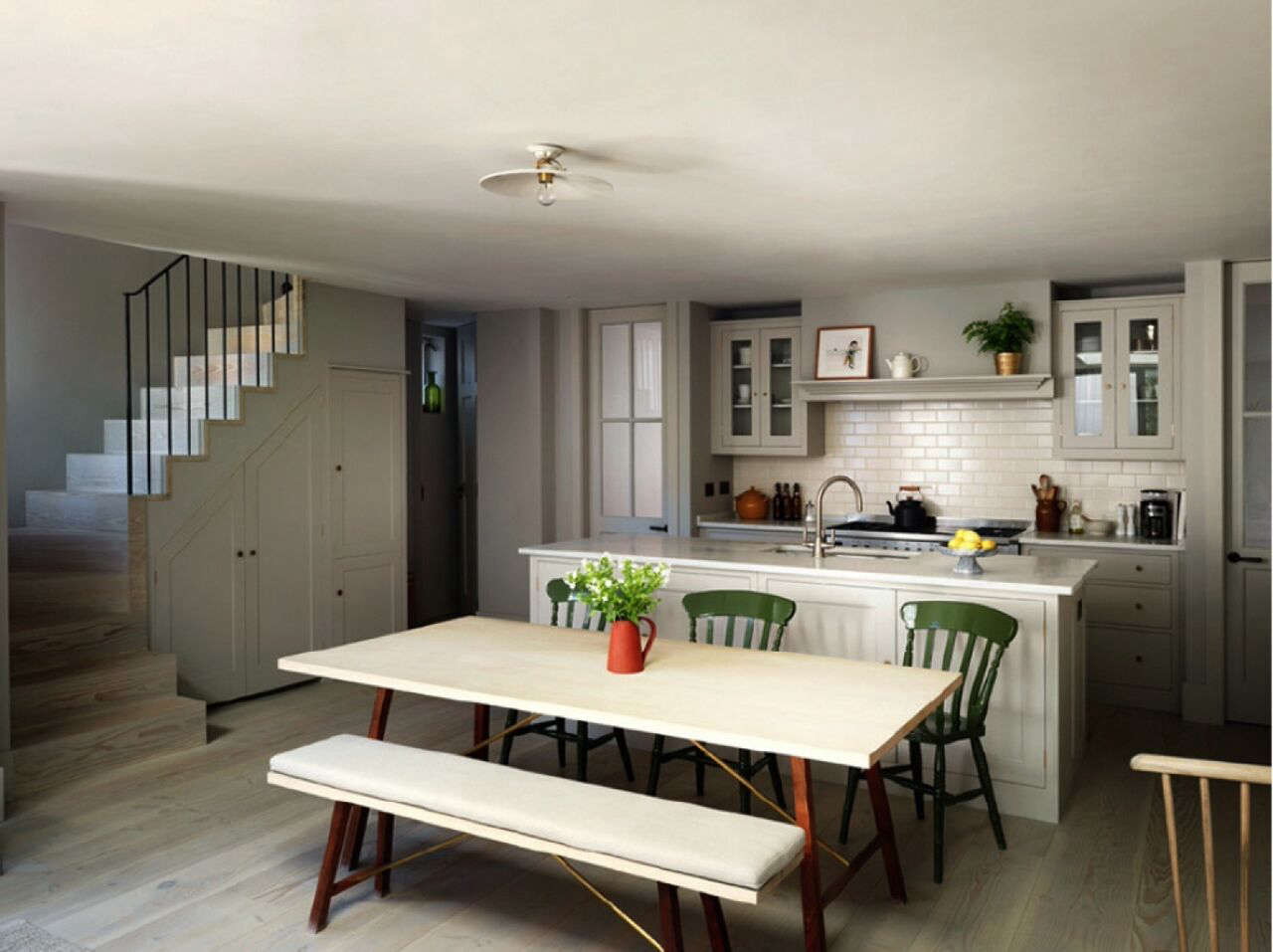 A Notting Hill Townhouse Tailored for Living by Charles Mellersh Plain English kitchen in a Notting Hill town house by interior designer Charles Mellersh   Remodelista