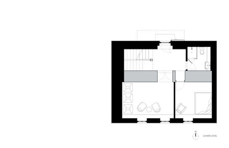 Lower level floor plan, Fox Hall by BarlisWedlick | Remodelista