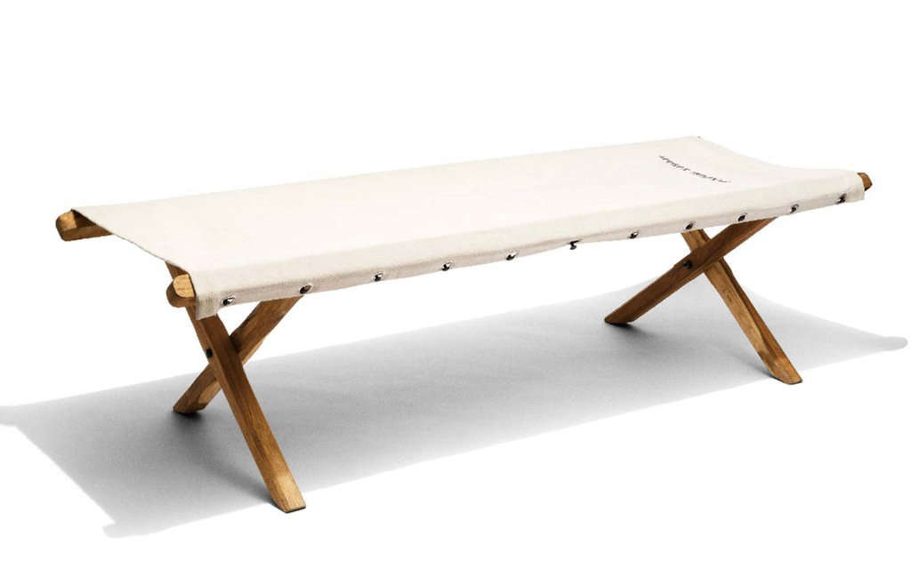 the off white cotton canvas nap bench is £395 (\$5\18) from scp in london. 9
