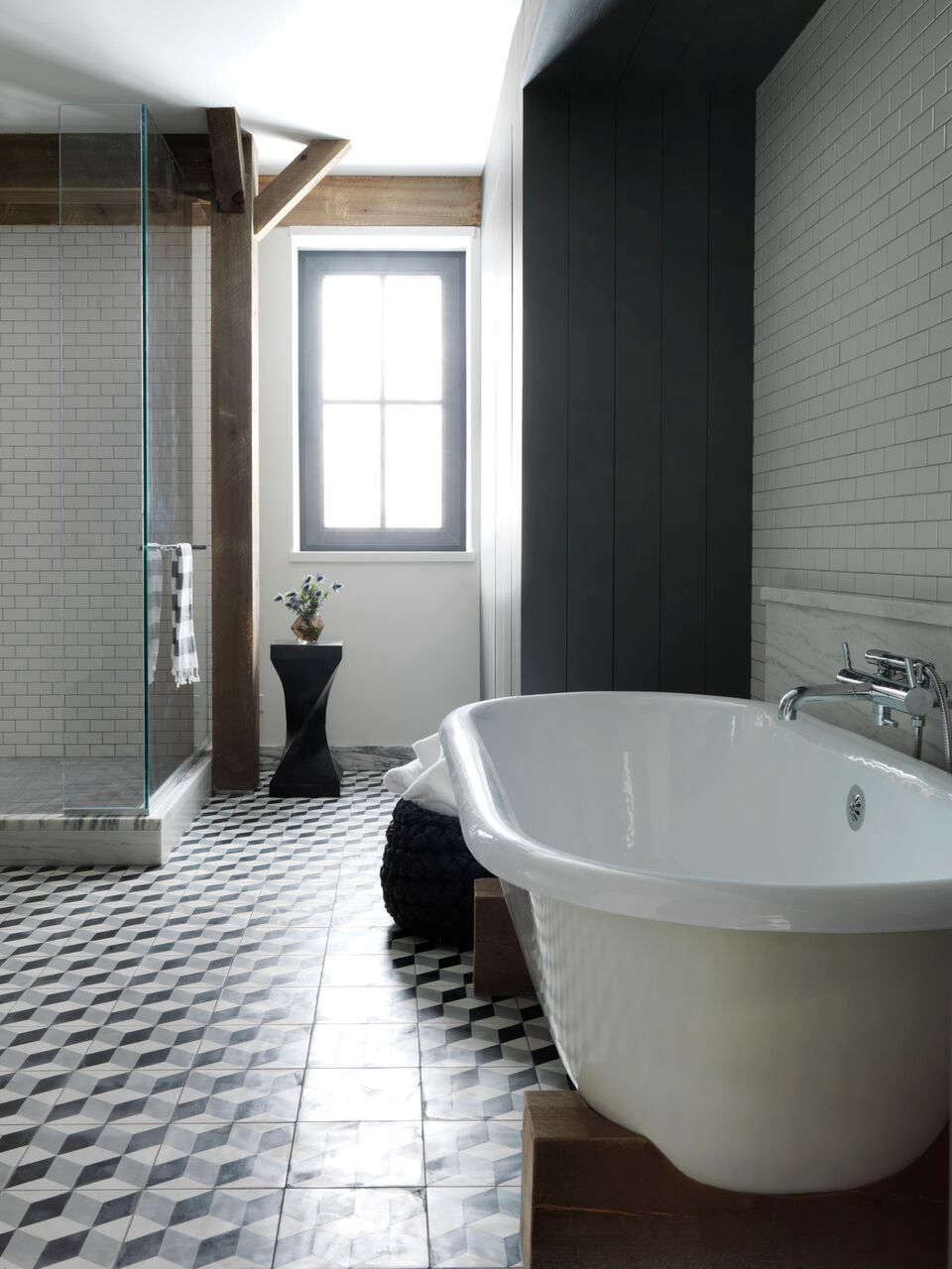 Master bath with block-patterned cement tiles by BarlisWedlick at Fox Hall, a Passive House | Remodelista