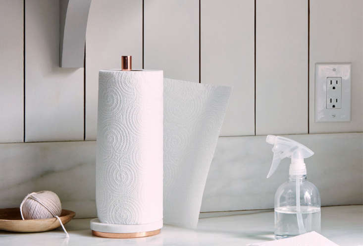 Photograph of the Marble & Metal Paper Towel Holder, available from Food5