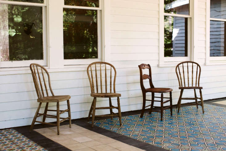 Bohemian Mastermix Foxfire Mountain House in the Catskills The porch is tiled in patchwork Moroccan tiles the owners found in a Brooklyn warehouse.