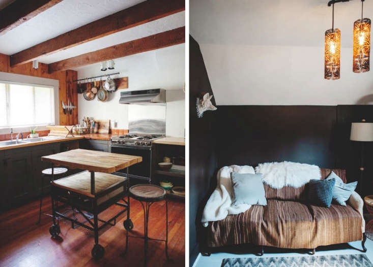 Bohemian Mastermix Foxfire Mountain House in the Catskills Above L: The cottage&#8\2\17;s rustic kitchen. Above R: A vintage settee draped in throws and pillows.