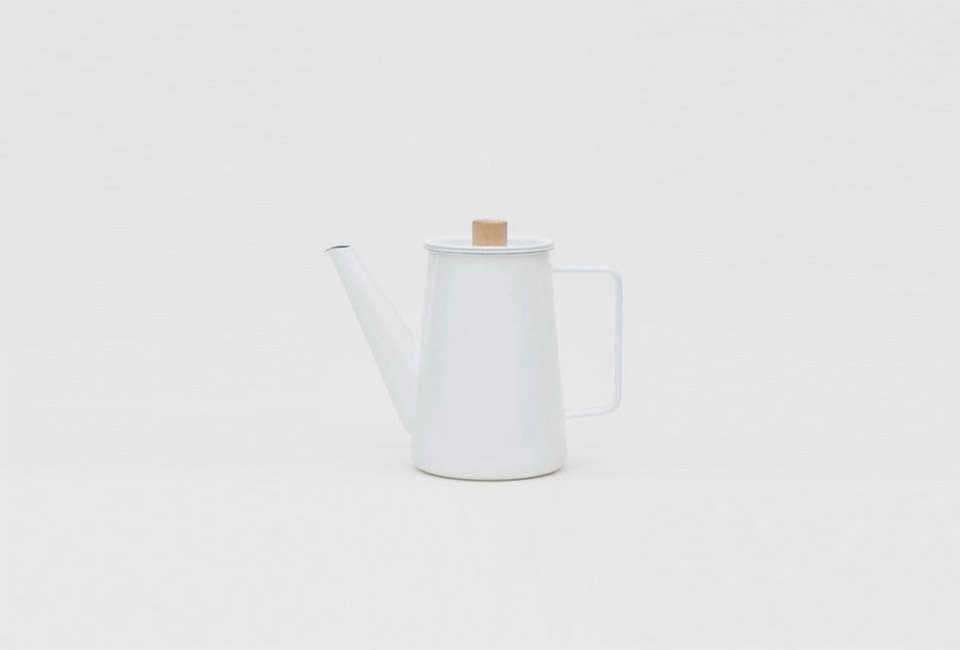 The Kaico Coffee Pot by designer Makoto Koizumi is made in Japan of enamel-coated steel with a maple knob; $0 from Emmo Home.