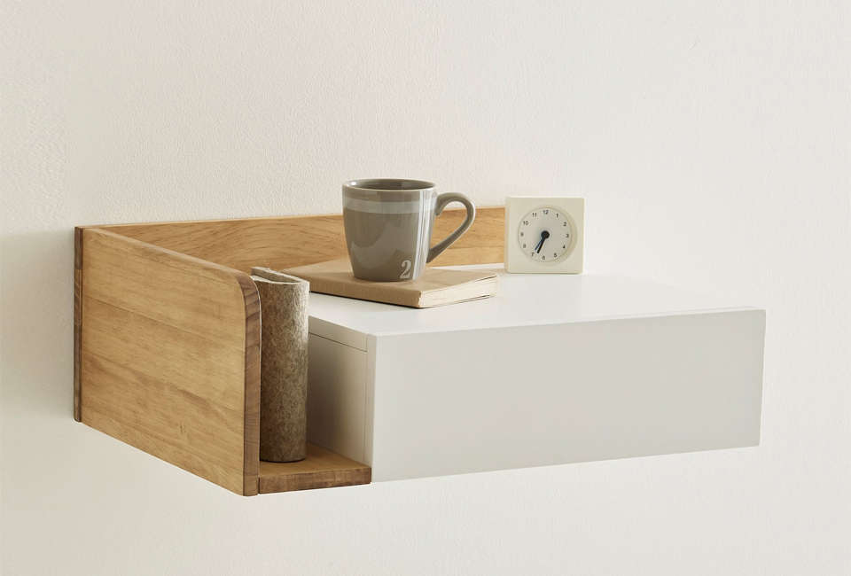 from french company la redoute, the suspended bedside table has an integrated d 16