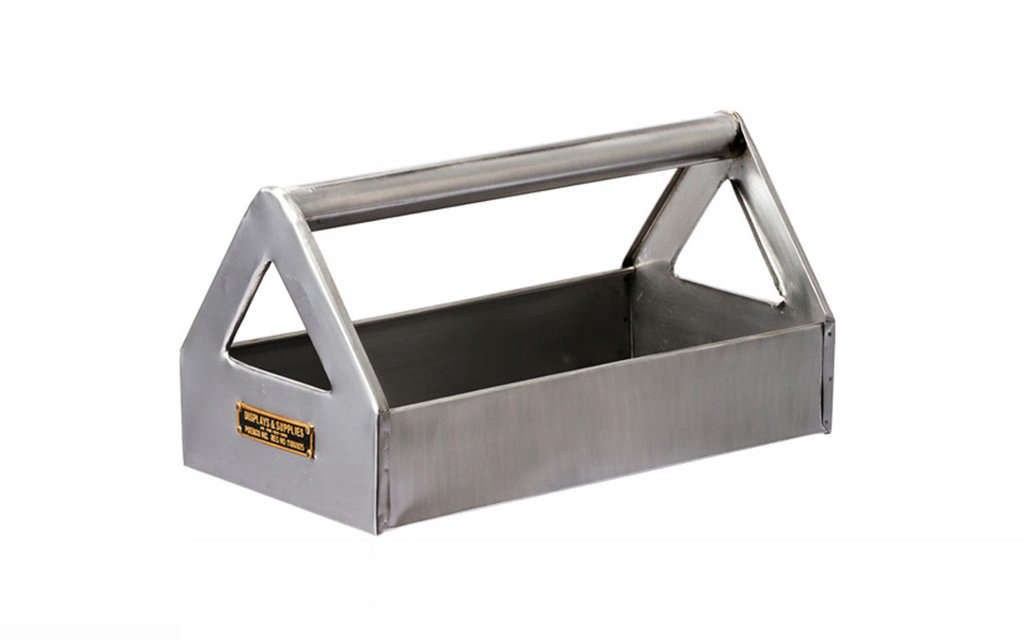 the industrial style tool tray is made of \100 percent steel; £\25 (\$33) from 12