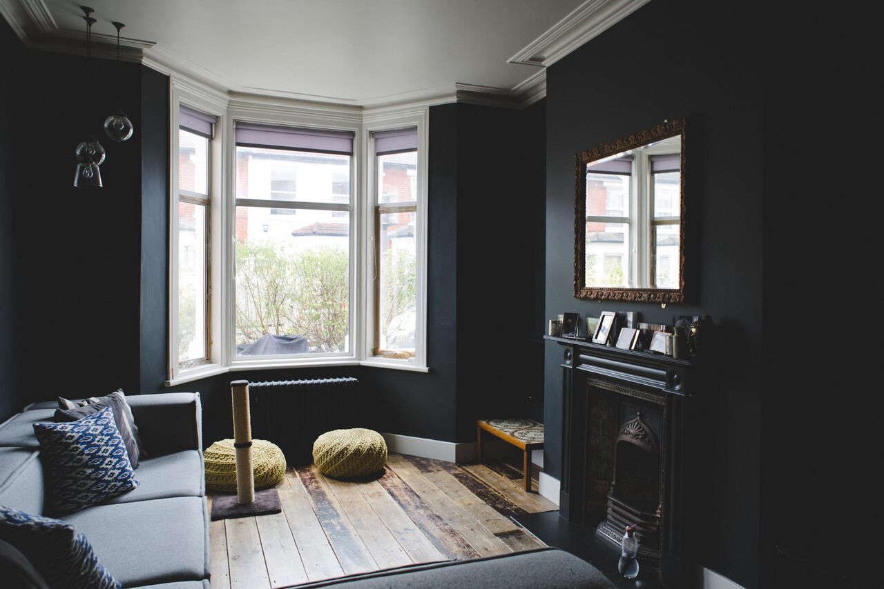 The moody blue parlor at Plywood House, a London Victorian remodel by architect Simon Astridge, photo via FvF | Remodelista