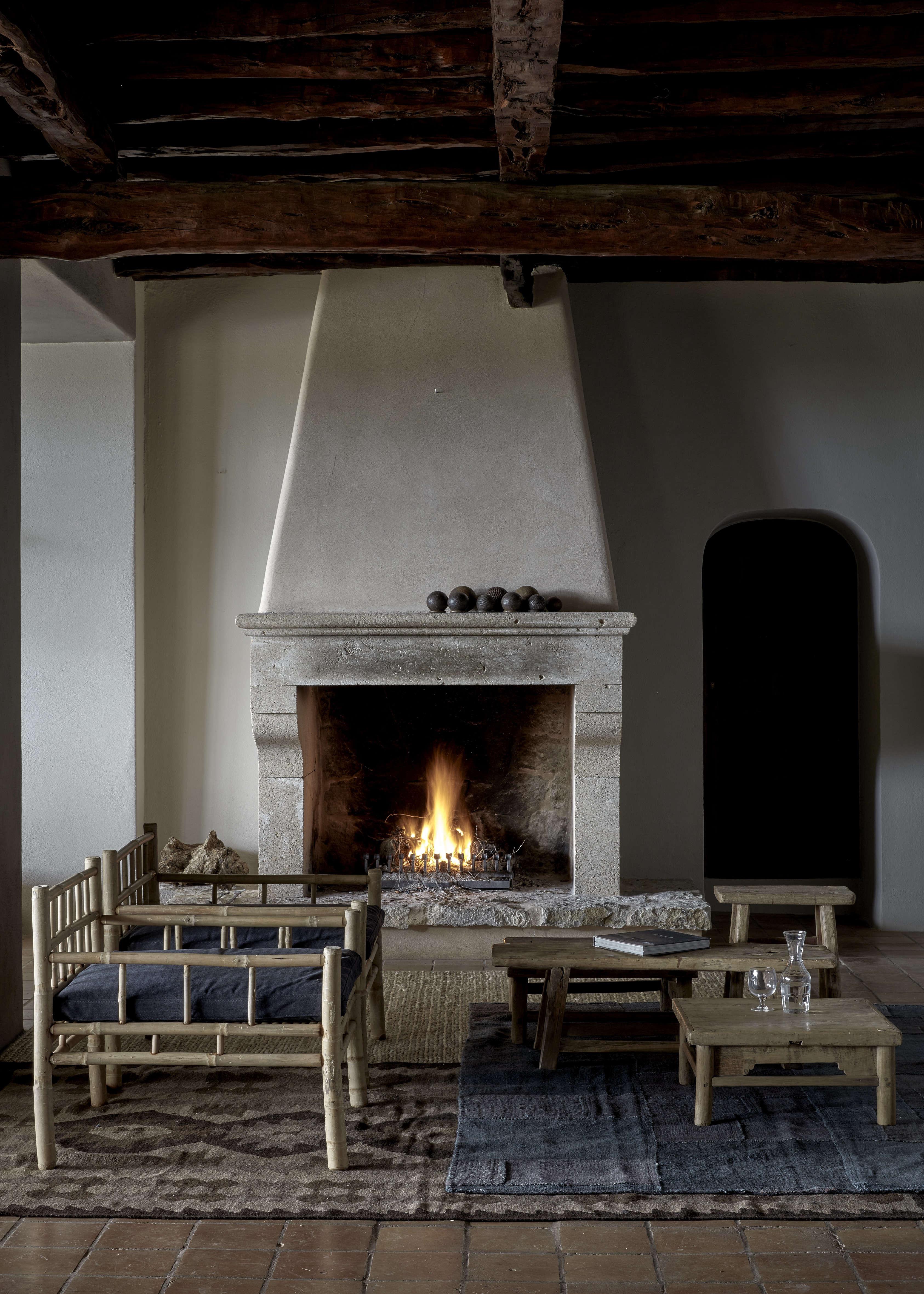 Stucco fireplace at La Granja Ibiza, a Design Hotels retreat on a 16th century finca | Remodelista