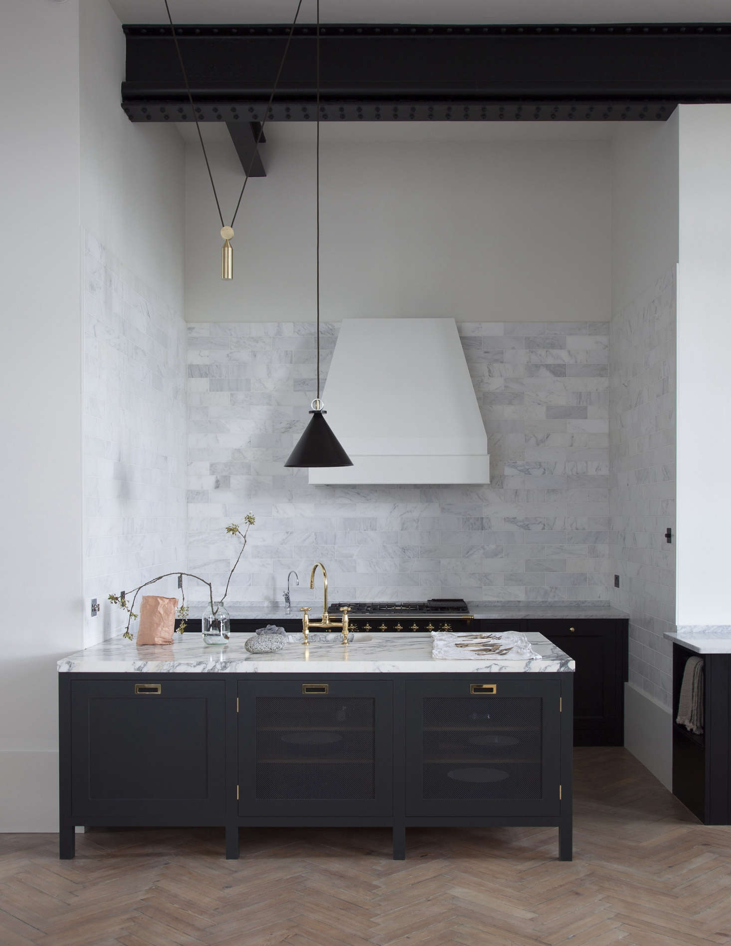 Carrara and arabescatto marble in a Plain English kitchen; seePlain English: Bespoke British Kitchen Design Comes to the US.