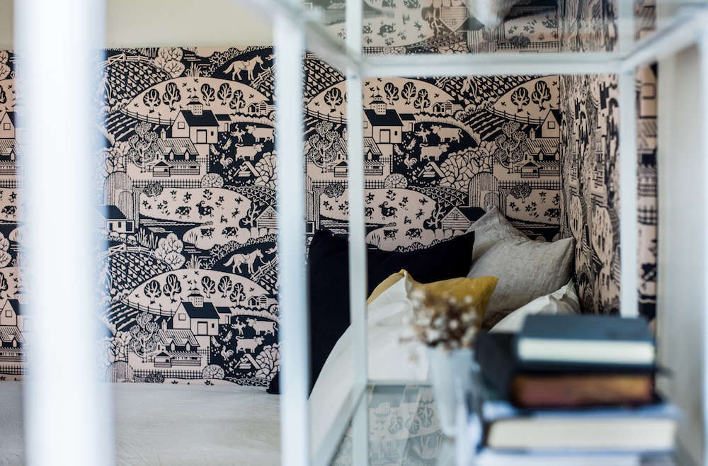 A DIY Headboard with New Wallpaper from Farrow amp Ball Remodelista F&B KB