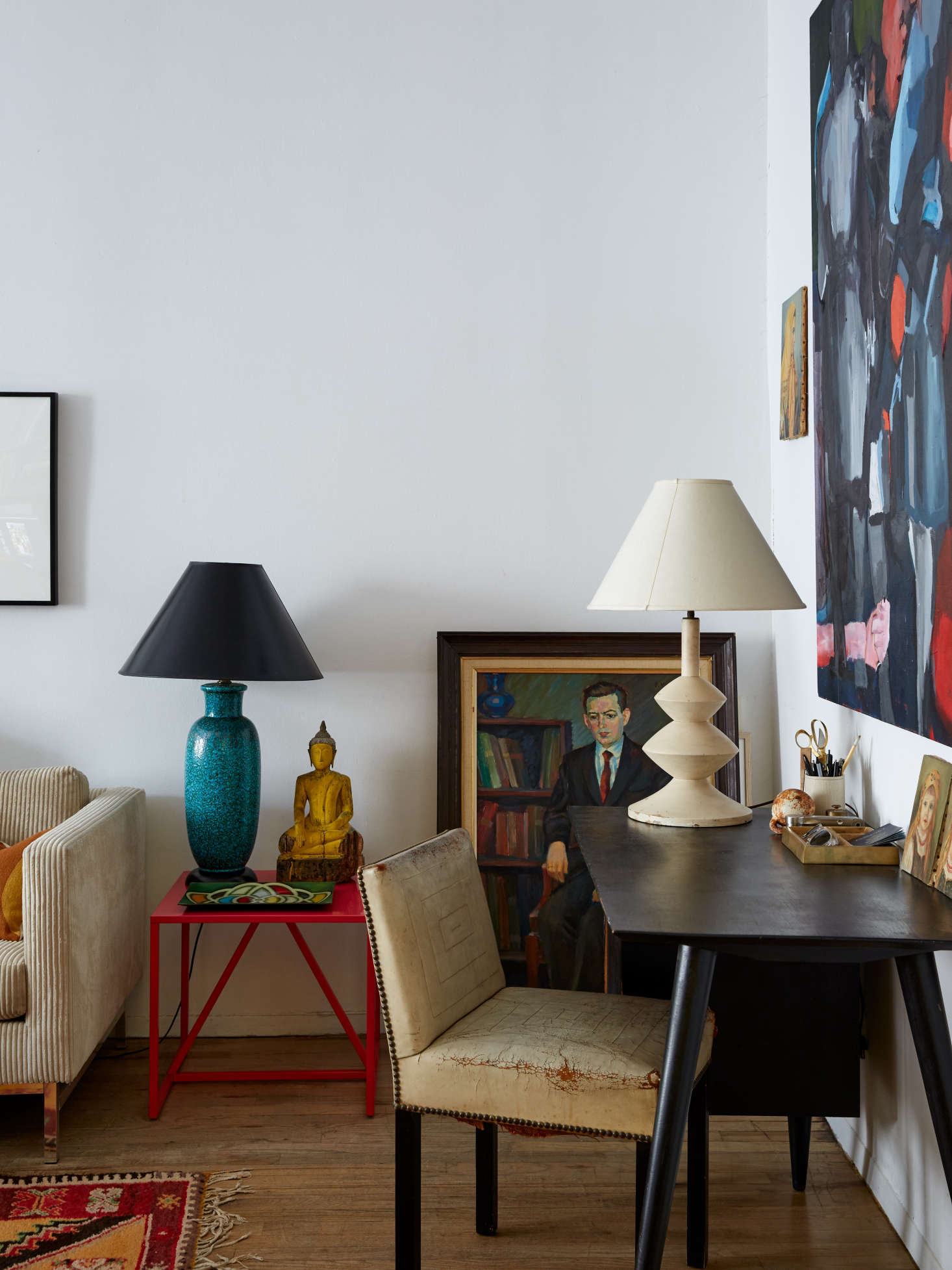 Living with art and sculptural lamps in a small rental apartment