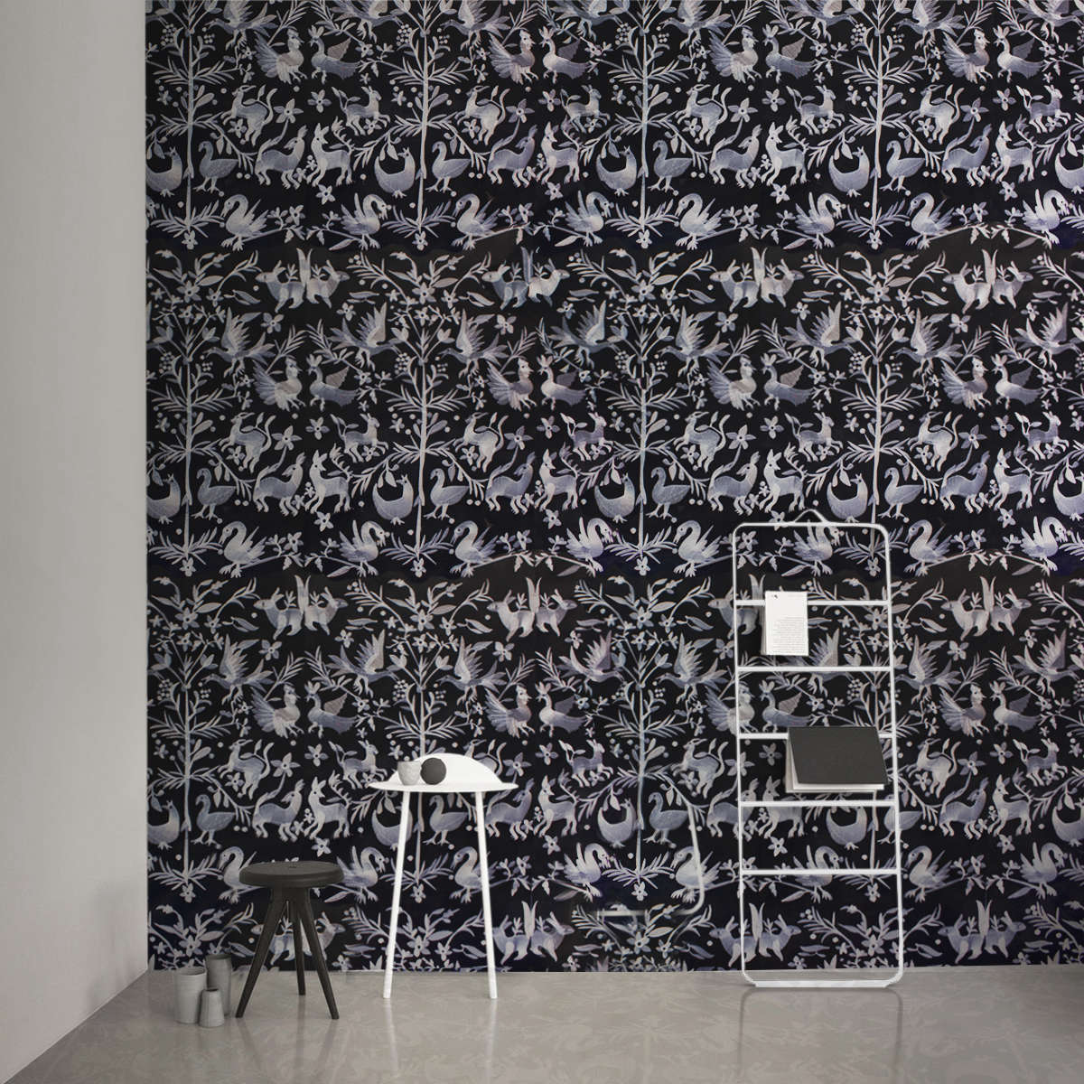 custhom aves embroidered wallpaper off black remodelista 15