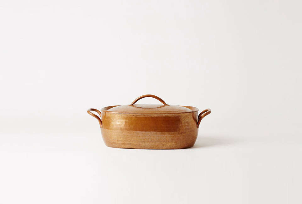 Steal This Look A ScandiStyle Kitchen in a Canadian Cabin The Jurgen Lehl Oval Copper Pan is \$8\25 CAD (\$630 USD) at Mjölk.