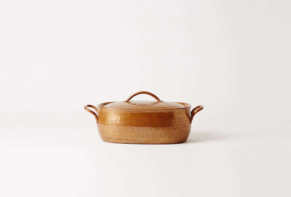 The Jurgen Lehl Oval Copper Pan is $8 CAD ($630 USD) at Mjölk.