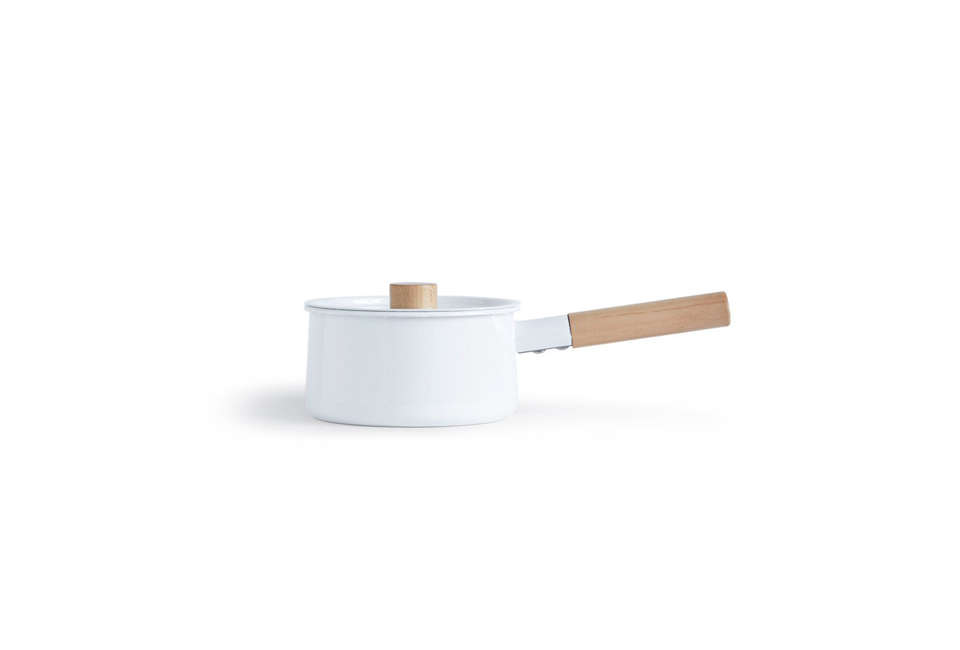 TheKaico Lidded Pot from Koizumi Studio is made in white enamel withwood accents for $loading=