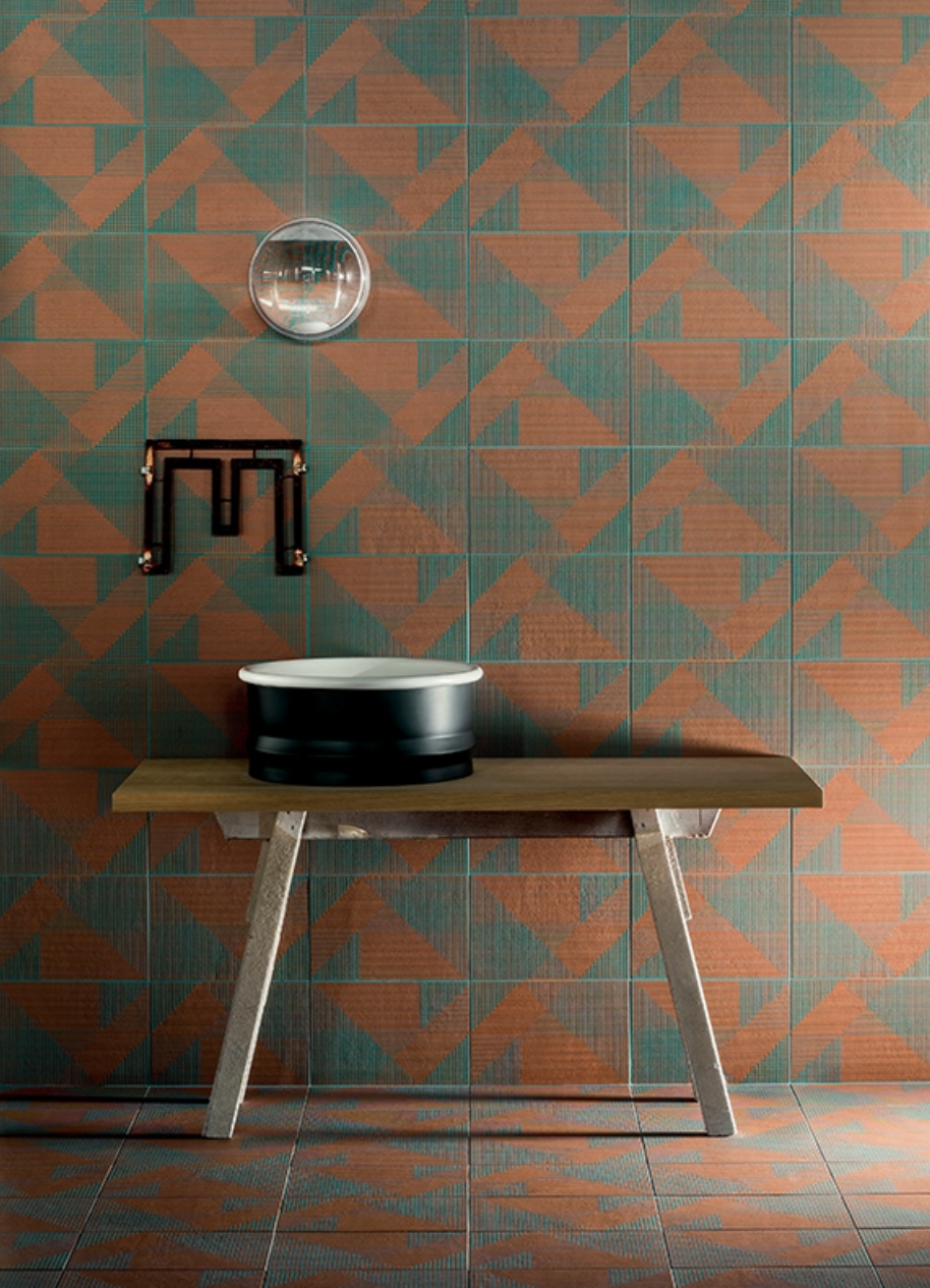 Earth and Clay Tierras Tiles by Patricia Urquiola for Mutina Tierra Tiles by Urquiola for Mutina Behind Washbasin