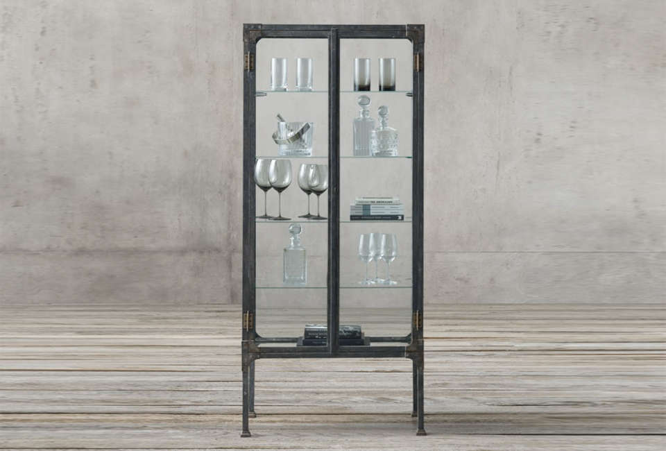 10 Easy Pieces Glass and Steel Display Cabinets Restoration Hardware Surgeon's Cabinet