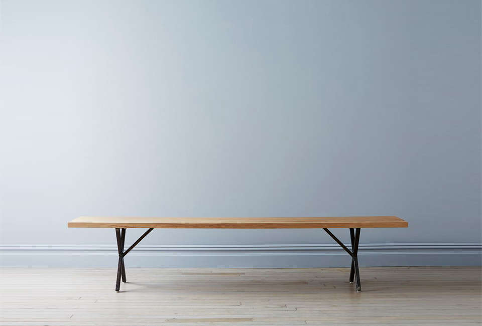 Solid White Oak and Steel Farm Bench