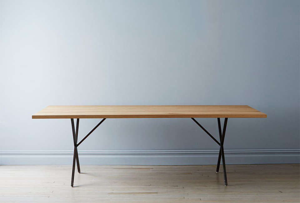 Solid White Oak and Steel Farm Table