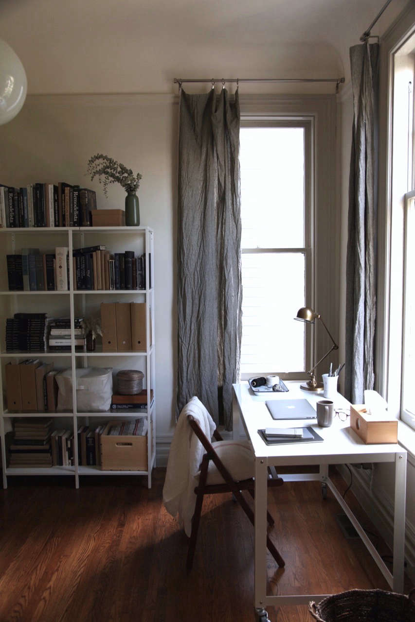 diy long gray linen curtains in an apartment office 9