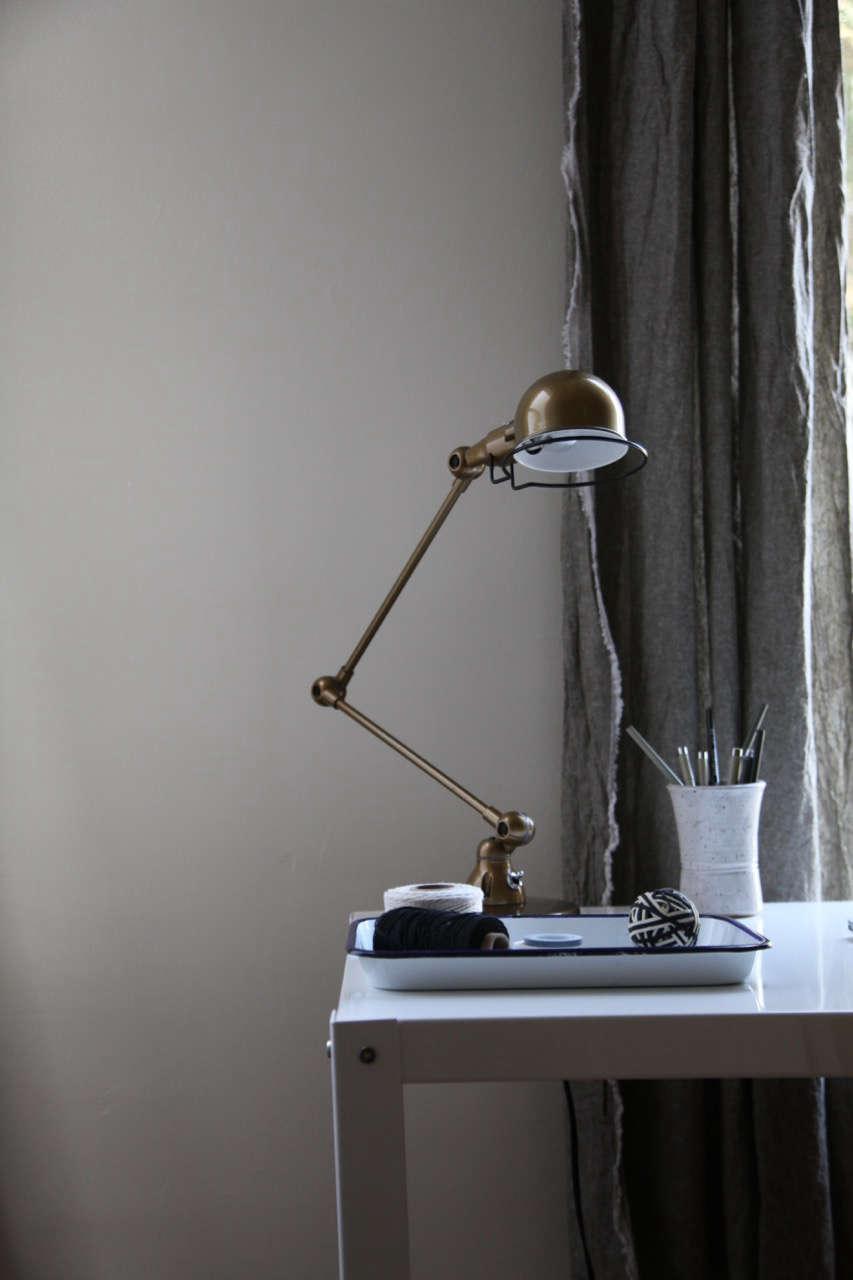 jielde brass lamp with diy linen curtains 10