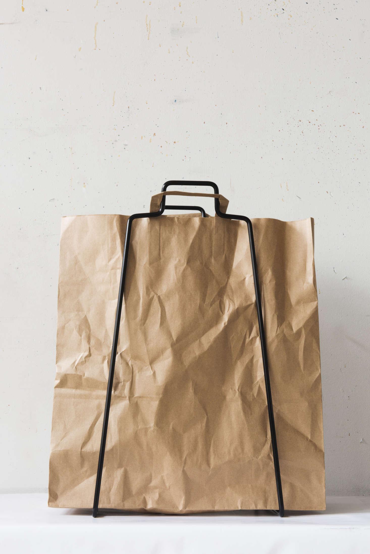 Everyday Design Finland Brown Paper Bag Helsinki Bag Holder Black