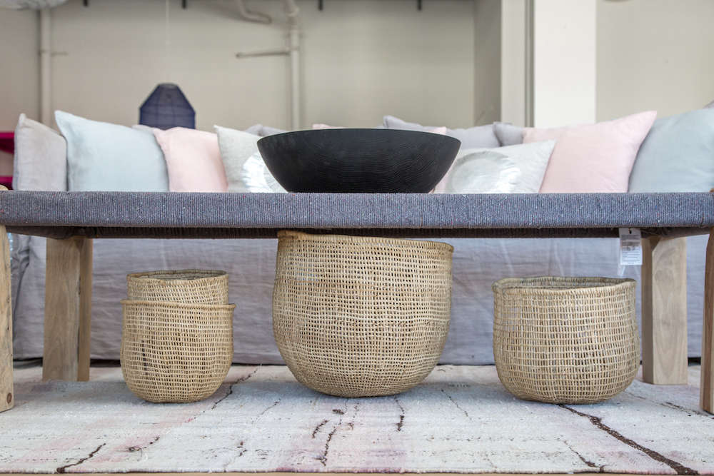 Handmade, fair trade baskets in Lost & Found modern home store in Santa Monica, Los Angeles