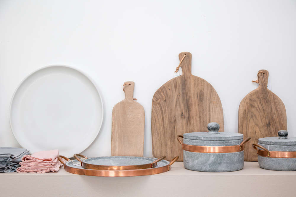 Handmade pottery and wood cutting boards in Lost & Found modern home store in Santa Monica, Los Angeles