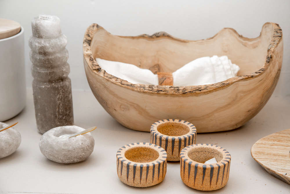 Hand-carved wood bowl and pottery in Lost & Found modern home store in Santa Monica, Los Angeles