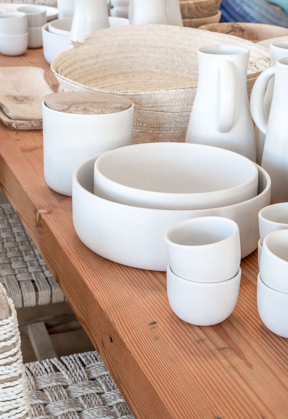Handmade Tunisian white stoneware pottery in Lost & Found modern home store in Santa Monica, Los Angeles