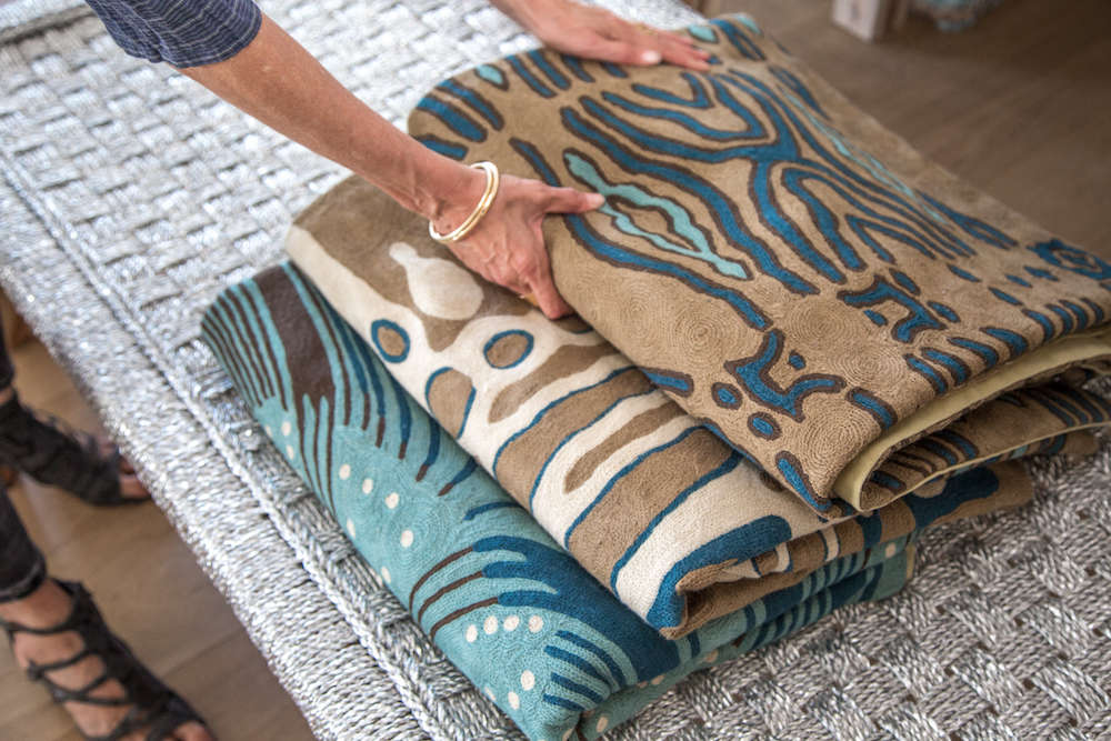 Handmade custom silk rugs in Lost & Found modern home store in Santa Monica, Los Angeles