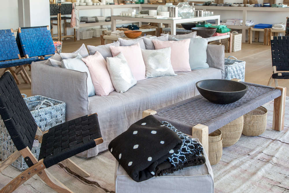 Modern sofa with pillows in pink and silver, Lost & Found modern home store in Santa Monica, Los Angeles