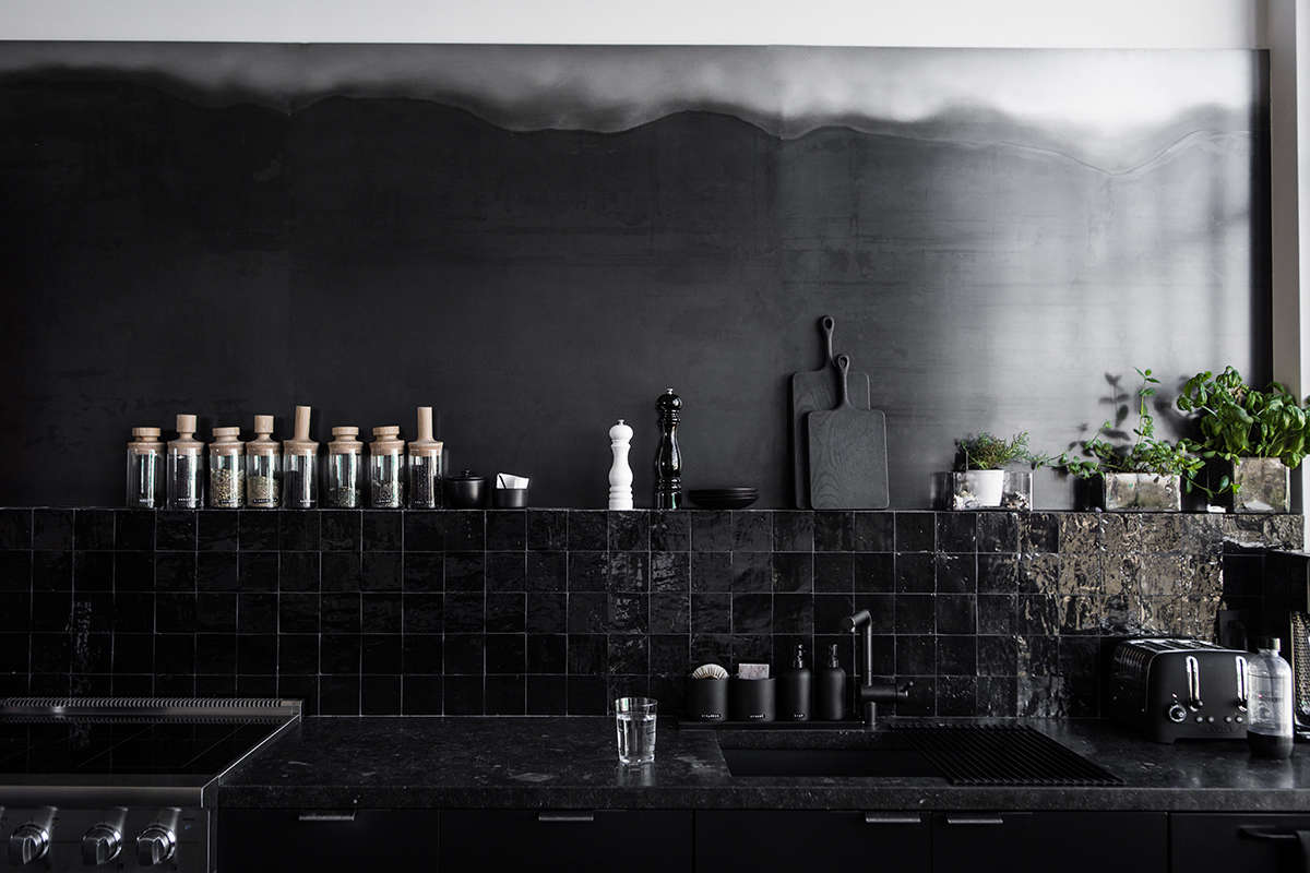 All Black Tiled Kitchen in San Francisco
