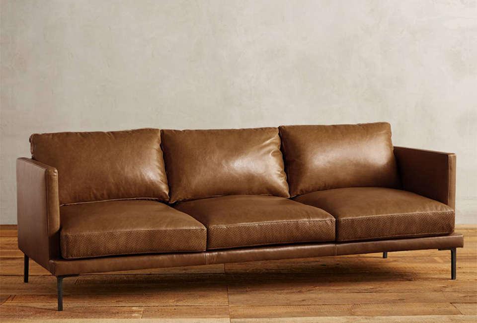 anthropologie premium leather linde sofa 17