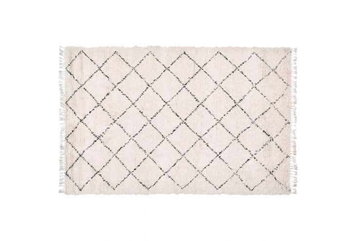 Jones sourced a Beni Ourain rug on Etsy (see Etsy shop Pink Rug Co.for options). This rug is theTazarine Wool Rug for $