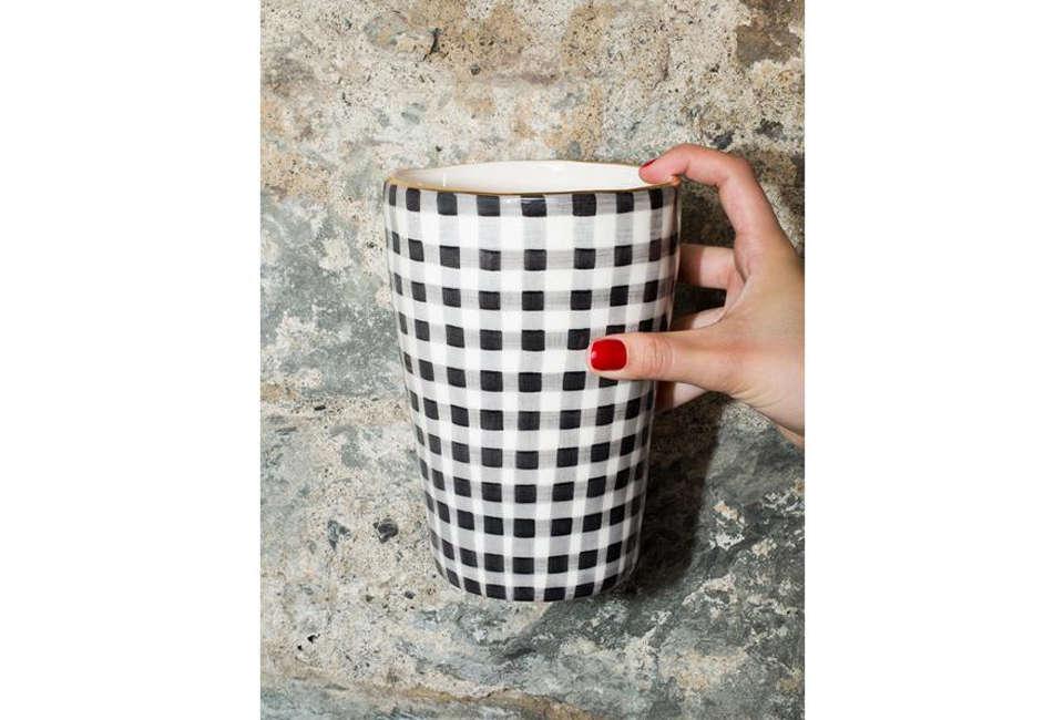 En Soie Sourire Small Vase in Vichy Grey