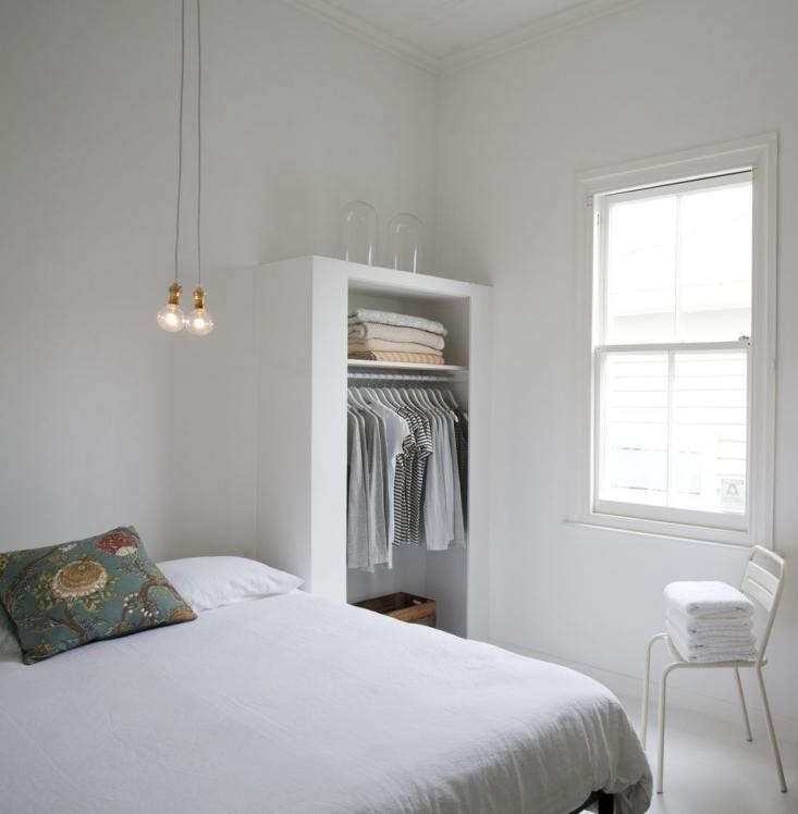 The White Album 27 Serene Bedrooms in Shades of Pale Another favorite clean lined design by Claudia Zinzan of Father Rabbitfeatures a shallow open closet.