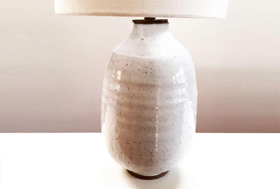 Mt. Washington Pottery Glazed White Lamp