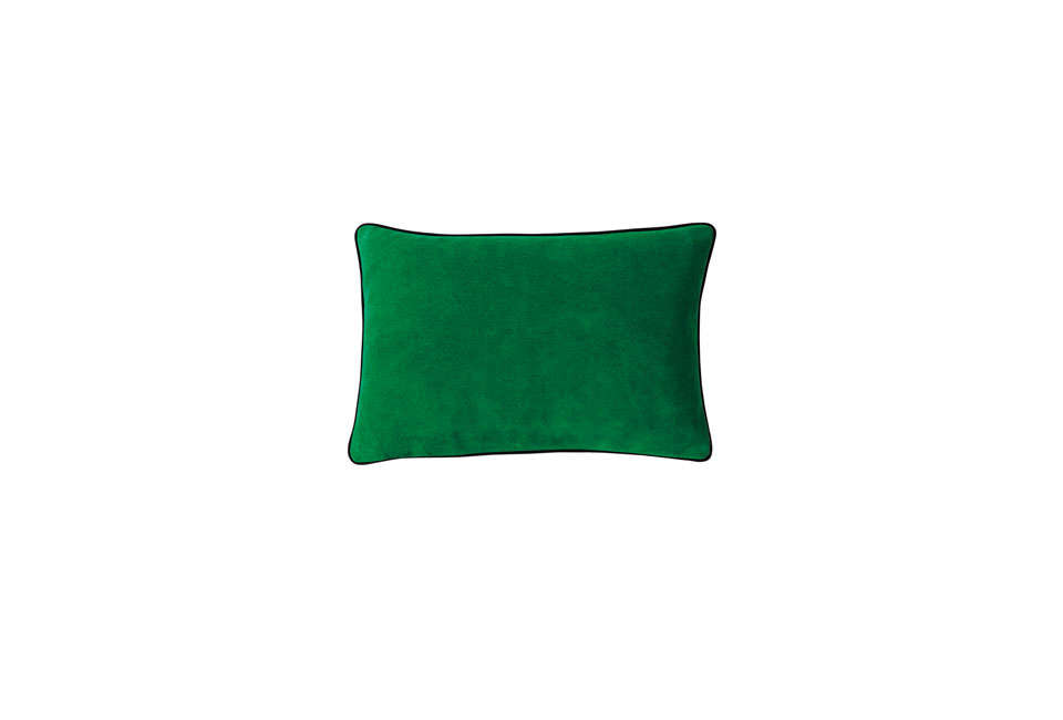 The Suede Lumbar Pillow Cover is $8 at Serena & Lily—though it is no longer available in Malachite, the color shown. For another green option, try Cultiver&#8