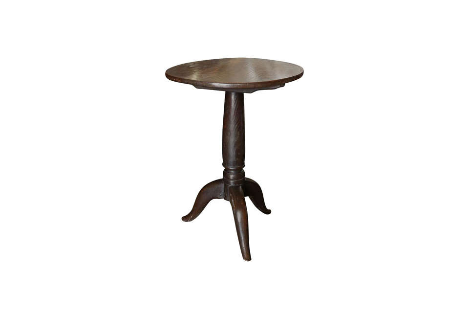 Steal This Look A Rustic Farmhouse Living Room in Upstate New York 19th Century Folk Oak Tripod Table