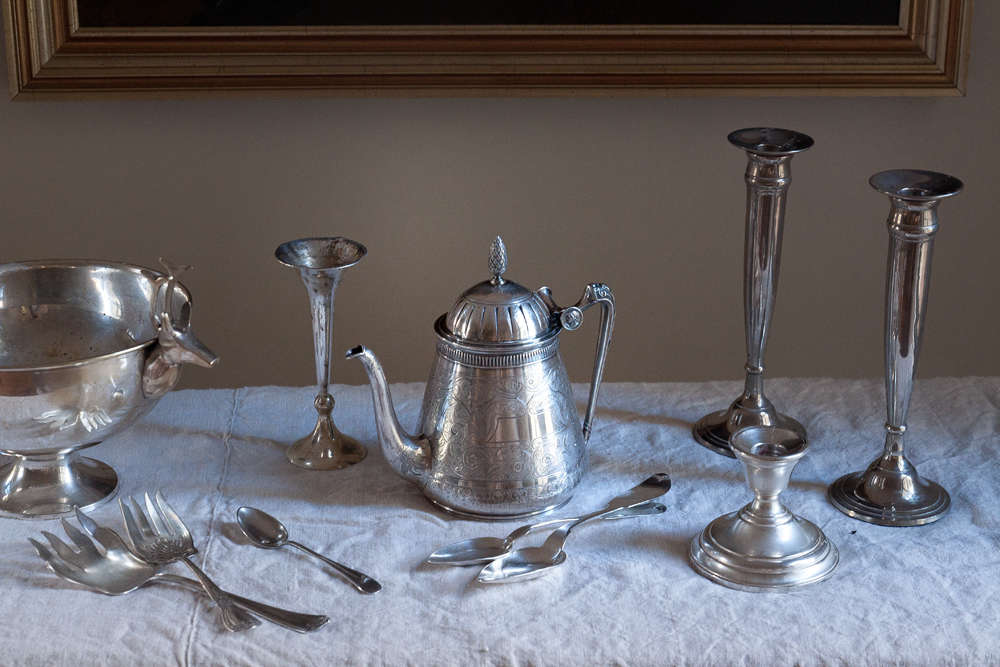 With the right tools, it only took me an hour to polish this collection of silver, and I spent most of that time on the highly tarnished and detailed teapot. Individual pieces of flatware took less than a minute each.