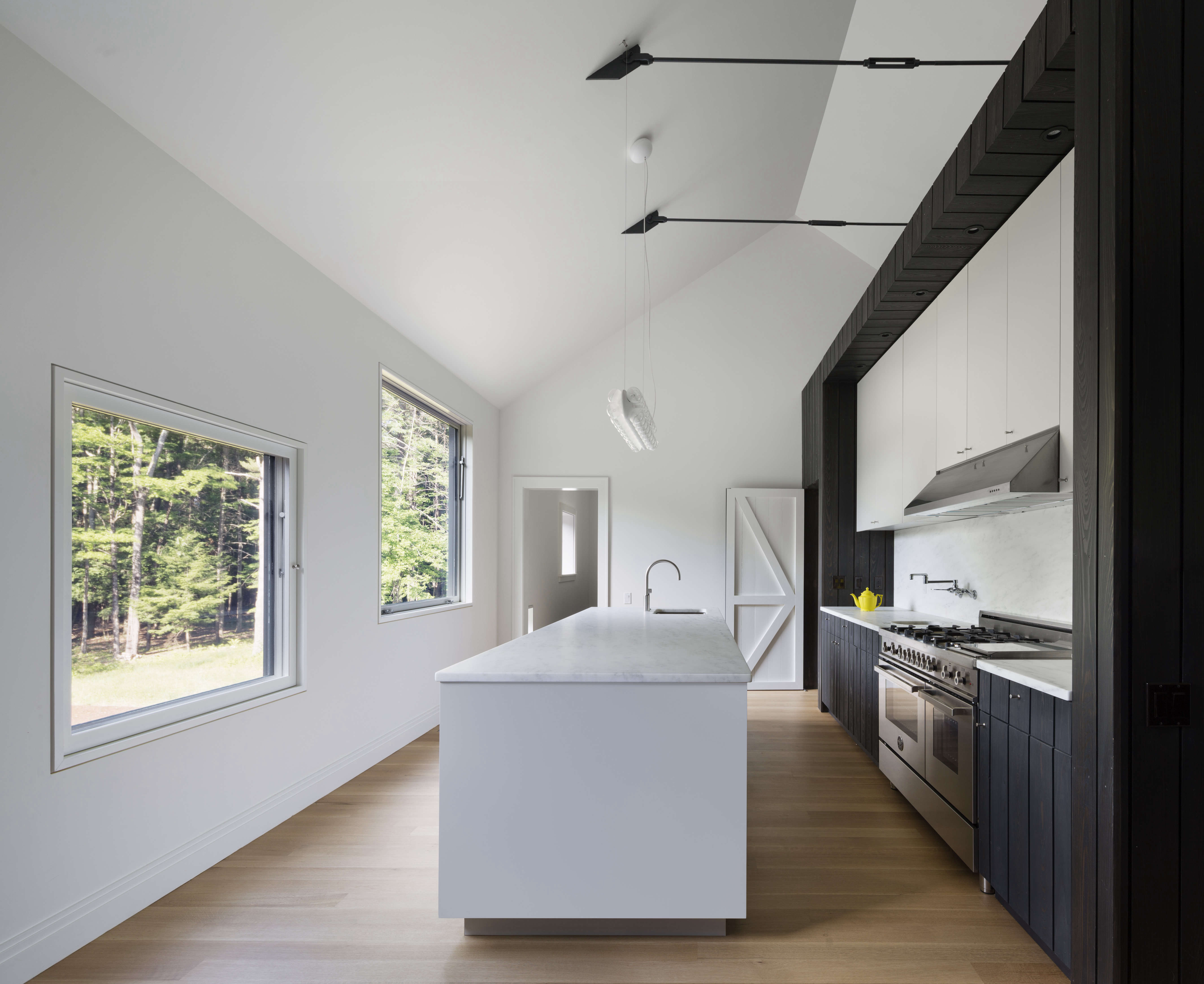 the streamlined black and white kitchen at undermountain, a barn style house in 16
