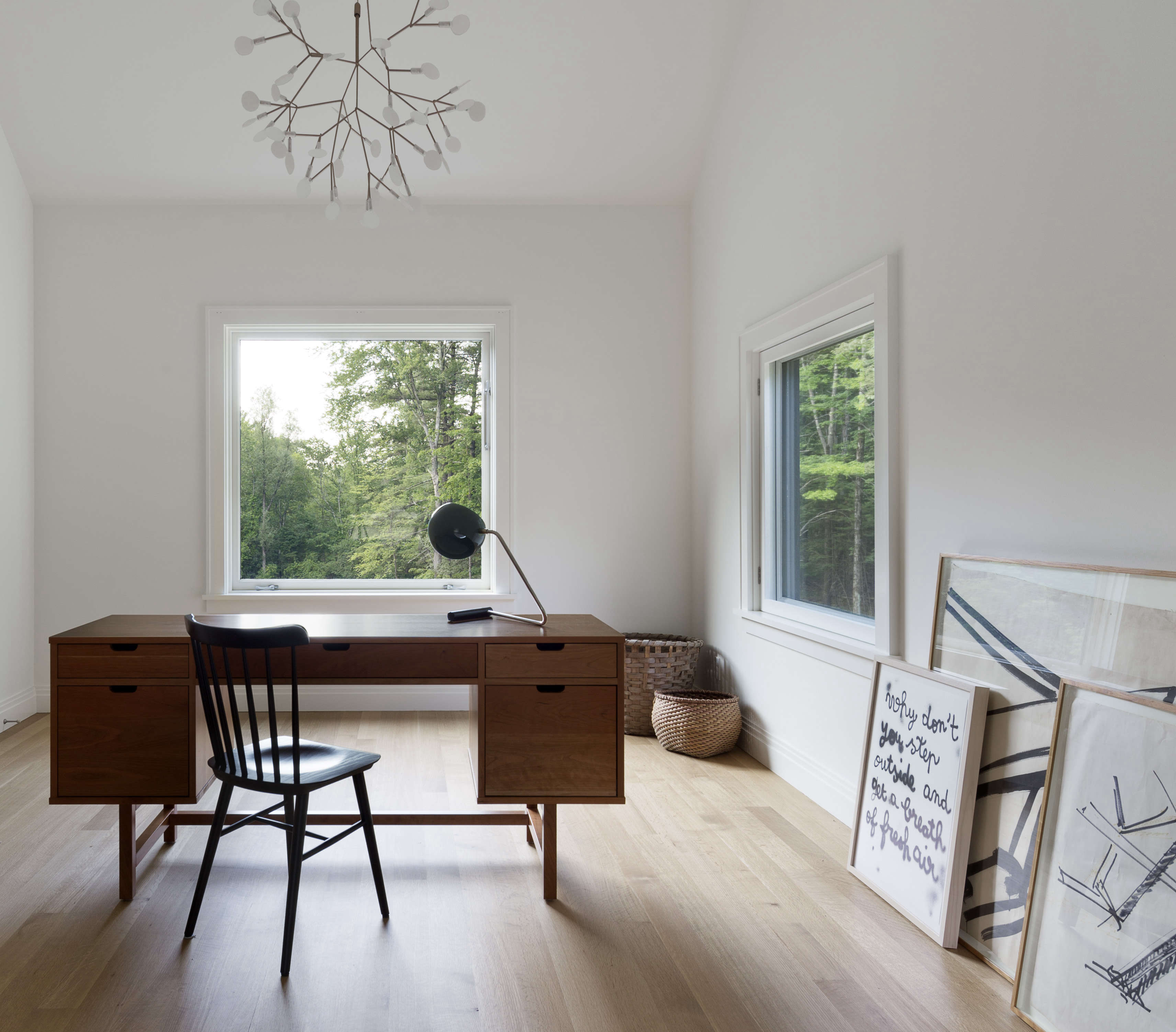home office with moooi snowflake like light at undermountain, a barn style hous 17