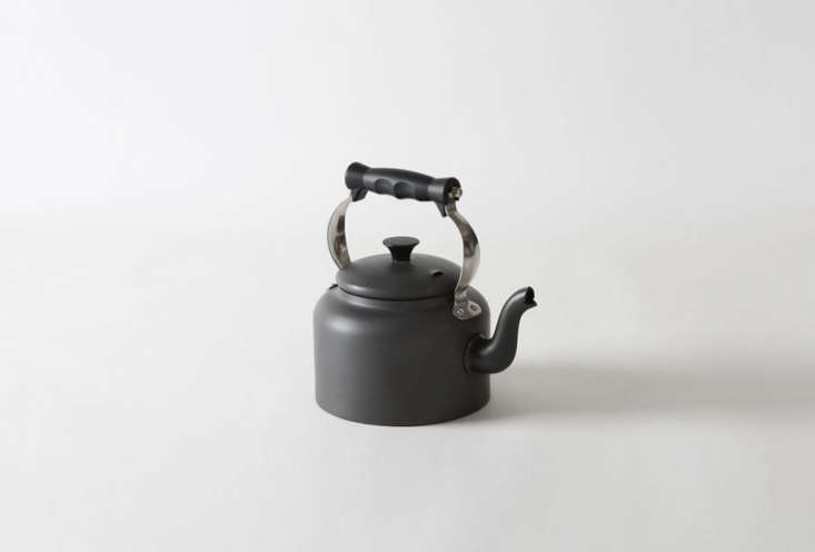The AGA Hard Anodized Kettle, made in the UK, is £5 at AGA Cookshop. (See  Easy Pieces: Classic Teakettles.)